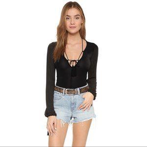 For Love & Lemons Black Kate Bodysuit NWT Size S
